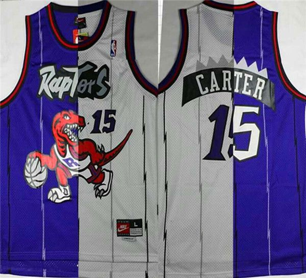 Men NBA Toronto Raptors 15 Carter Blue White split Jerseys