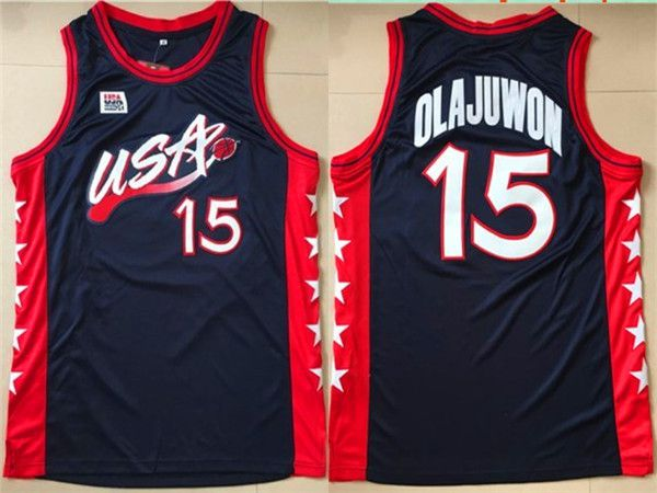 Men NBA USA 15 Olajuwon Black Jerseys