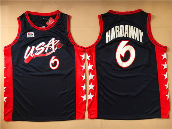 Men NBA USA 6 Hardaway Black Jerseys