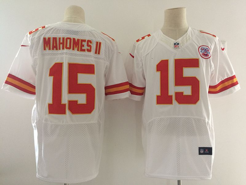 Men NFL Kansas City Chiefs 15 Mahomes ii White Nike Elite Jerseys