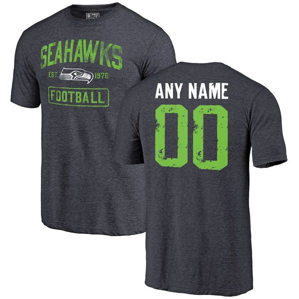 Men Navy Seattle Seahawks Distressed Custom Name and Number Tri-Blend Custom NFL T-Shirt