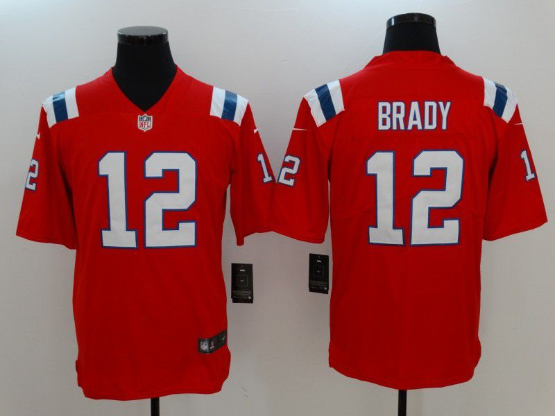 Men New England Patriots 12 Brady Red Nike Vapor Untouchable Limited NFL Jersey