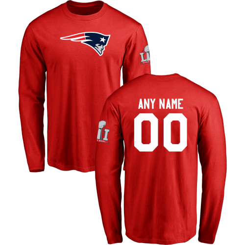 Men New England Patriots Design-Your-Own Long Sleeve Custom NFL T-Shirt