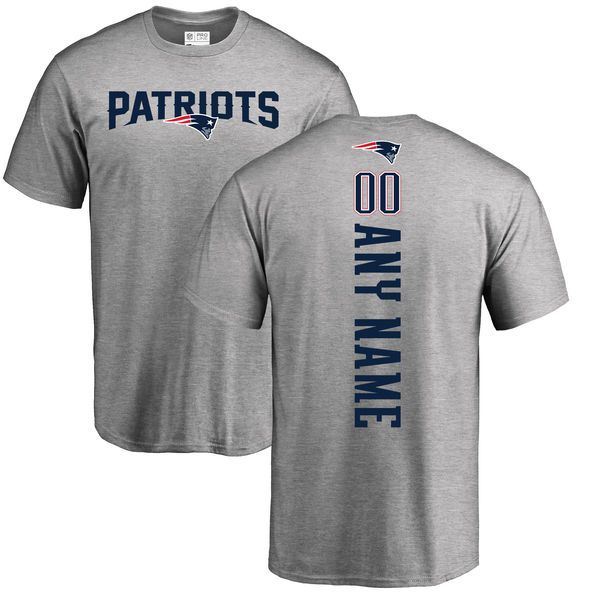 Men New England Patriots NFL Pro Line Ash Custom Backer T-Shirt