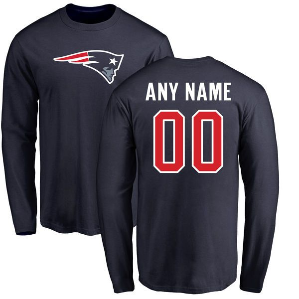 Men New England Patriots NFL Pro Line Navy Any Name and Number Logo Custom Long Sleeve T-Shirt