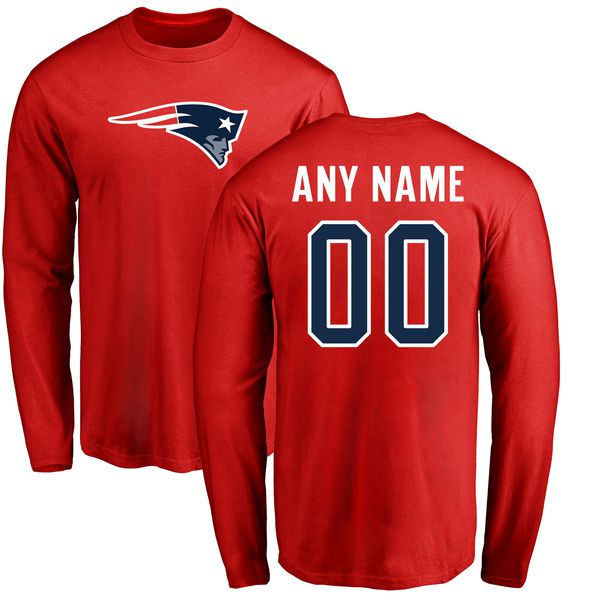 Men New England Patriots NFL Pro Line Red Custom Name and Number Logo Long Sleeve T-Shirt