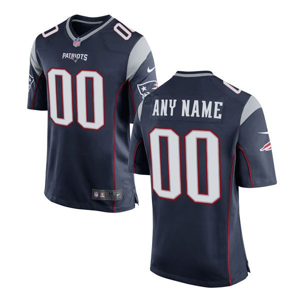 Men New England Patriots Nike Navy Custom Game NFL Jersey