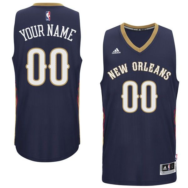 Men New Orleans Pelicans Adidas Navy Custom Swingman Road NBA Jersey