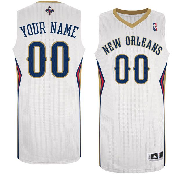Men New Orleans Pelicans White Custom Authentic NBA Jersey