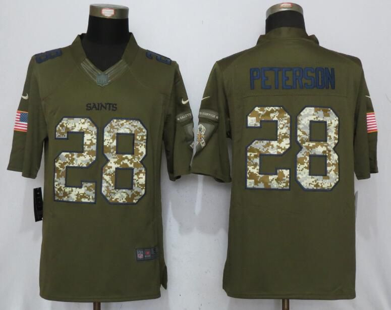Men New Orleans Saints 28 Peterson Green Salute To Service New Nike Limited NFL Jersey