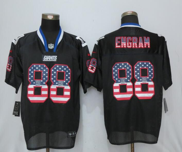 Men New York Giants 88 Engram USA Flag Fashion Black New Nike Elite NFL Jersey