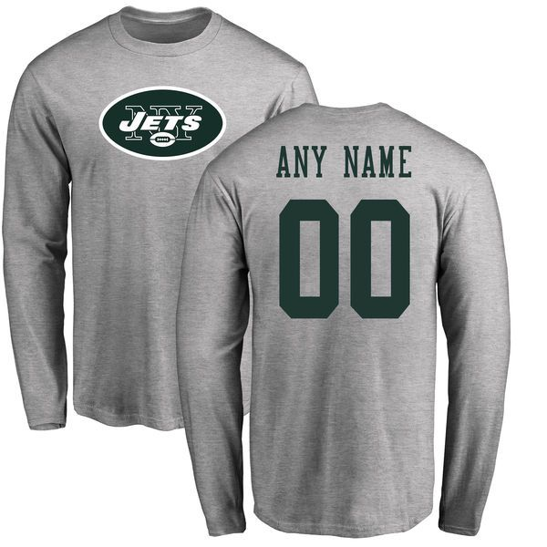 Men New York Jets NFL Pro Line Ash Custom Name and Number Logo Long Sleeve T-Shirt