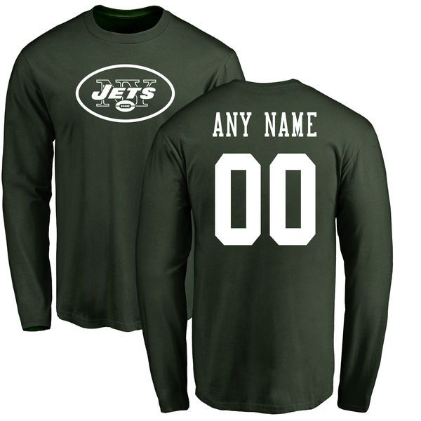 Men New York Jets NFL Pro Line Green Any Name and Number Logo Custom Long Sleeve T-Shirt