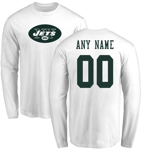 Men New York Jets NFL Pro Line White Custom Name and Number Logo Long Sleeve T-Shirt