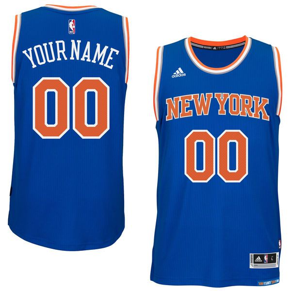 Men New York Knicks Adidas Blue Custom Swingman Road NBA Jersey