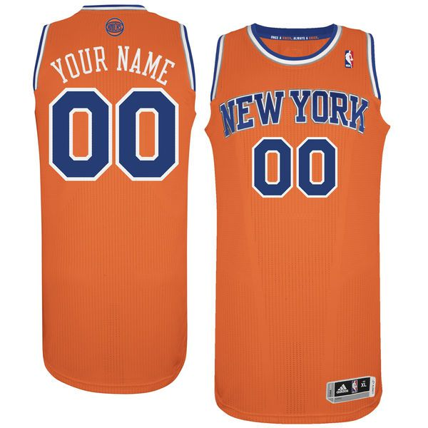 Men New York Knicks Orange Custom Authentic NBA Jersey