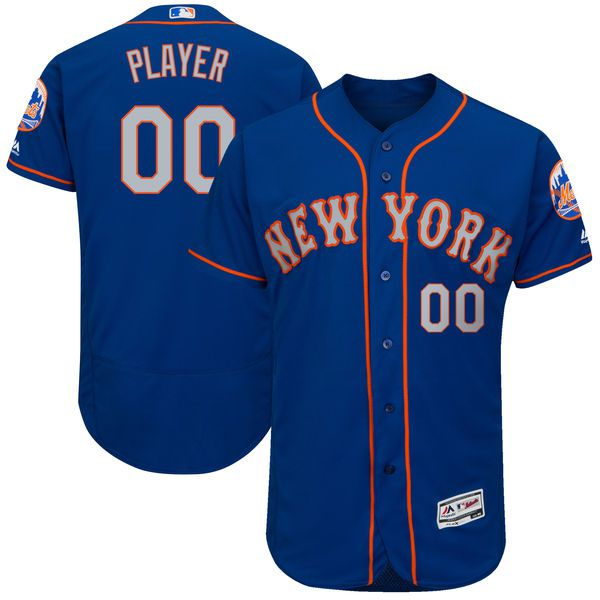 Men New York Mets Majestic Royal Blue Gray 2017 Alternate Authentic Collection Flex Base Custom MLB Jersey