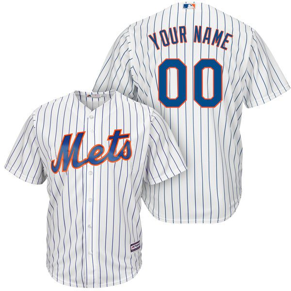 Men New York Mets Majestic White RoyalHome Cool Base Custom MLB Jersey