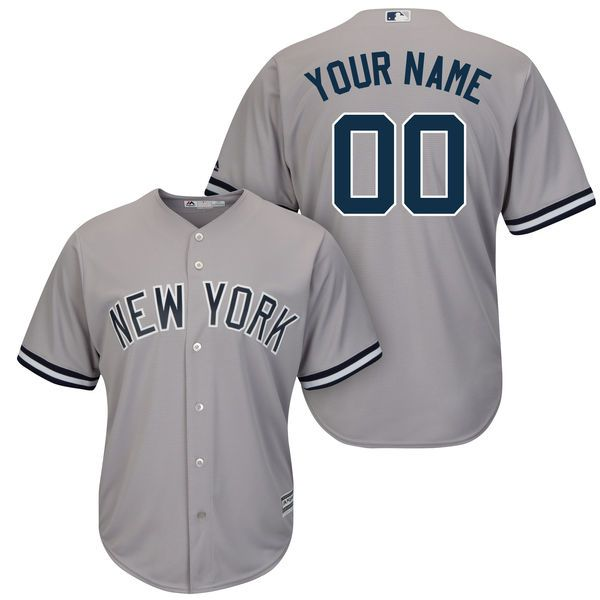 Men New York Yankees Majestic Gray Road Cool Base Custom MLB Jersey