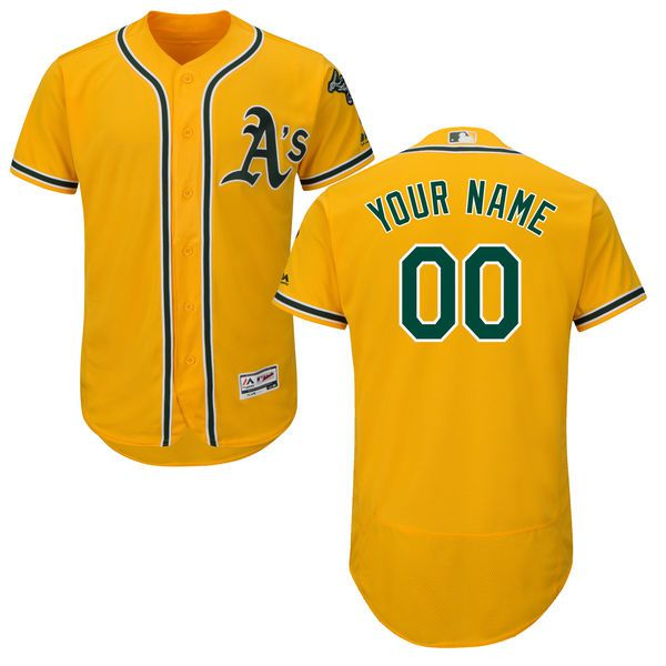 Men Oakland Athletics Majestic Alternate Gold Flex Base Authentic Collection Custom MLB Jersey