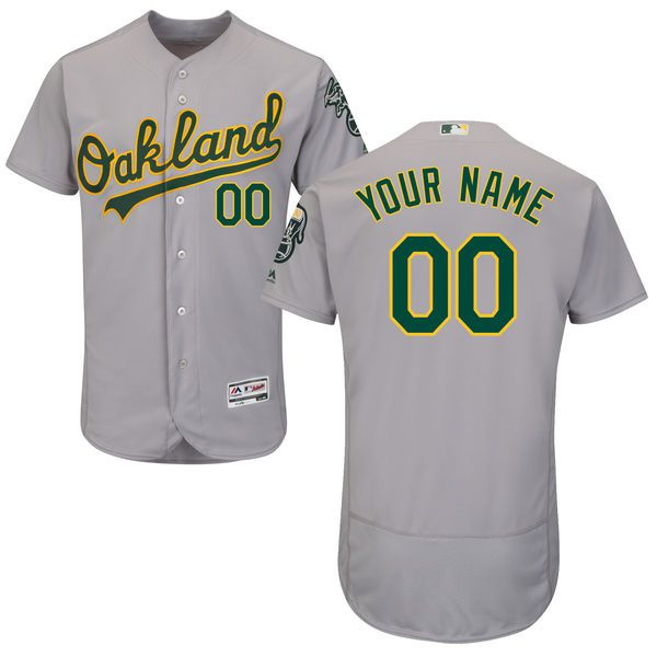 Men Oakland Athletics Majestic Road Gray Flex Base Authentic Collection Custom MLB Jersey