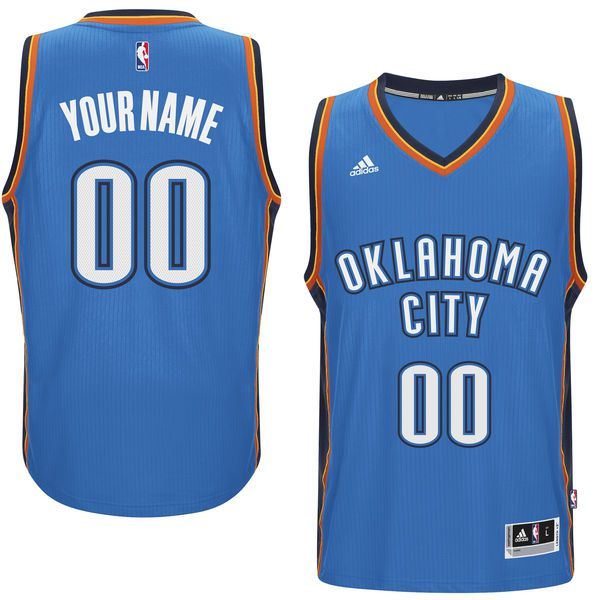 Men Oklahoma City Thunder Adidas Blue Custom Swingman Road NBA Jersey