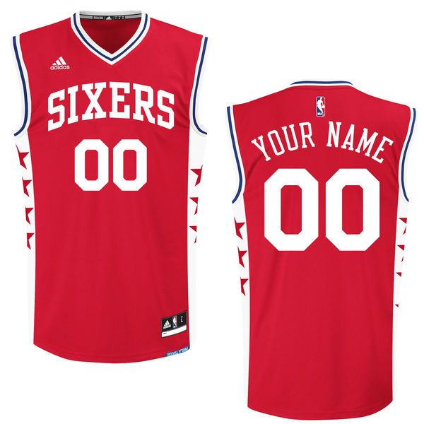 Men Philadelphia 76ers Adidas Red 2015 Custom Replica Alternate NBA Jersey
