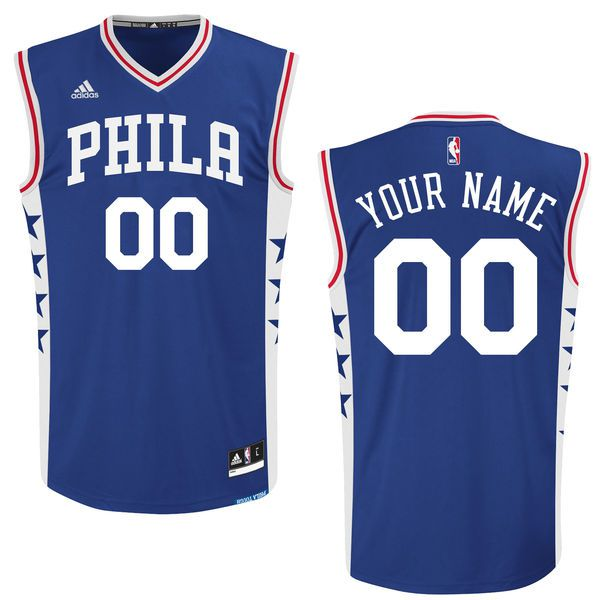 Men Philadelphia 76ers Adidas Royal 2015 Custom Replica Road NBA Jersey
