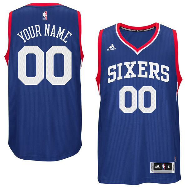 Men Philadelphia 76ers Adidas Royal Custom Swingman Road NBA Jersey
