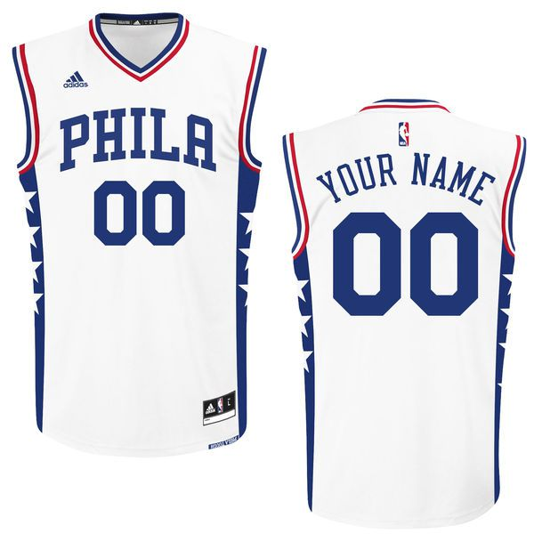 Men Philadelphia 76ers Adidas White 2015 Custom Replica Home NBA Jersey