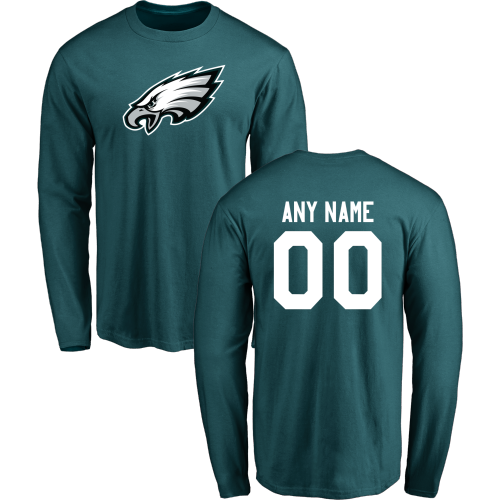 Men Philadelphia Eagles Design-Your-Own Long Sleeve Custom NFL T-Shirt