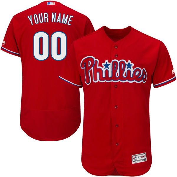 Men Philadelphia Phillies Majestic Alternate Red Scarlet Flex Base Authentic Collection Custom MLB Jersey
