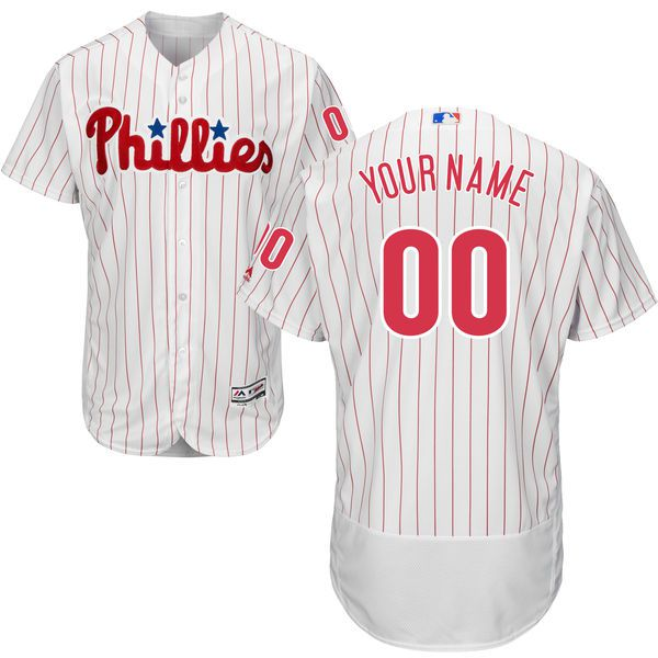 Men Philadelphia Phillies Majestic Home White Scarlet Flex Base Authentic Collection Custom MLB Jersey