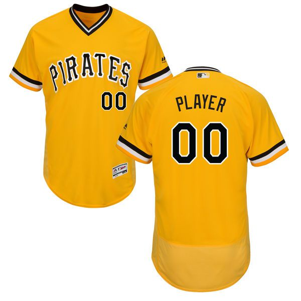 Men Pittsburgh Pirates Majestic Alternate Gold Flex Base Authentic Collection Custom MLB Jersey