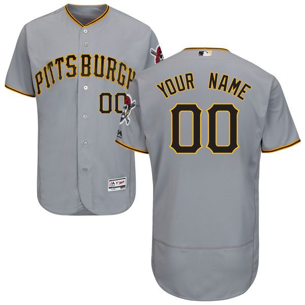 Men Pittsburgh Pirates Majestic Road Gray Flex Base Authentic Collection Custom MLB Jersey