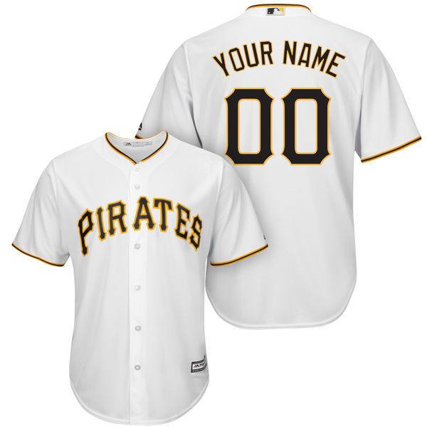 Men Pittsburgh Pirates Majestic White Cool Base Custom MLB Jersey