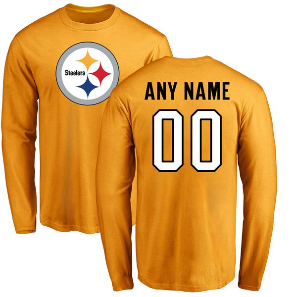 Men Pittsburgh Steelers NFL Pro Line Gold Custom Name and Number Logo Long Sleeve T-Shirt