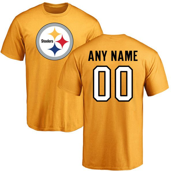 Men Pittsburgh Steelers NFL Pro Line Gold Custom Name and Number Logo T-Shirt