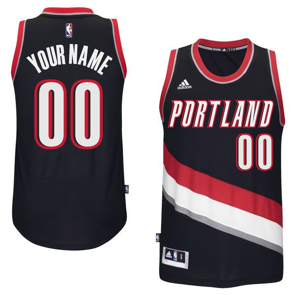 Men Portland Trail Blazers Adidas Black Custom Swingman Road NBA Jersey