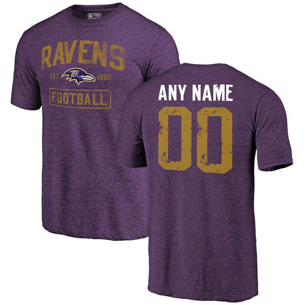 Men Purple Baltimore Ravens Distressed Custom Name and Number Tri-Blend Custom NFL T-Shirt