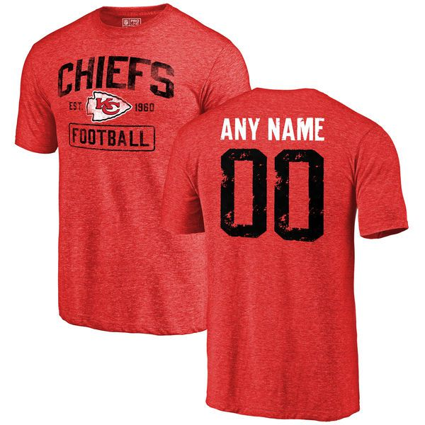 Men Red Kansas City Chiefs Distressed Custom Name and Number Tri-Blend Custom NFL T-Shirt