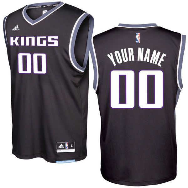 Men Sacramento Kings Adidas Black 2016 - 17 Custom Replica Alternate NBA Jersey