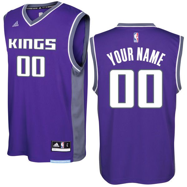 Men Sacramento Kings Adidas Purple 2016 - 17 Custom Replica Road NBA Jersey