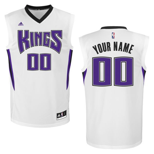 Men Sacramento Kings Adidas White Custom Replica Home NBA Jersey