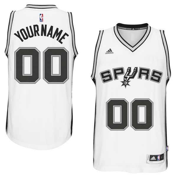 Men San Antonio Spurs Adidas White Custom Swingman Home NBA Jersey