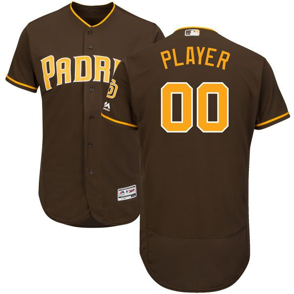 Men San Diego Padres Majestic Brown Alternate Flex Base Authentic Collection Custom MLB Jersey
