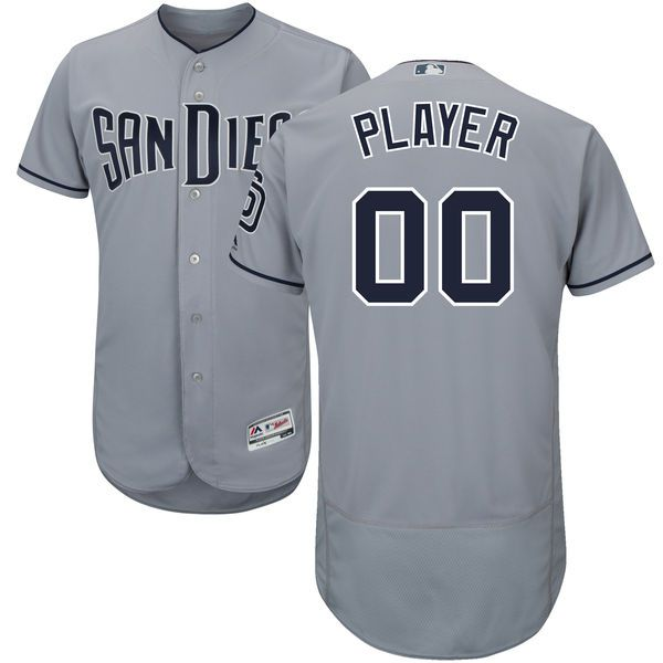 Men San Diego Padres Majestic Gray Road Flex Base Authentic Collection Custom MLB Jersey