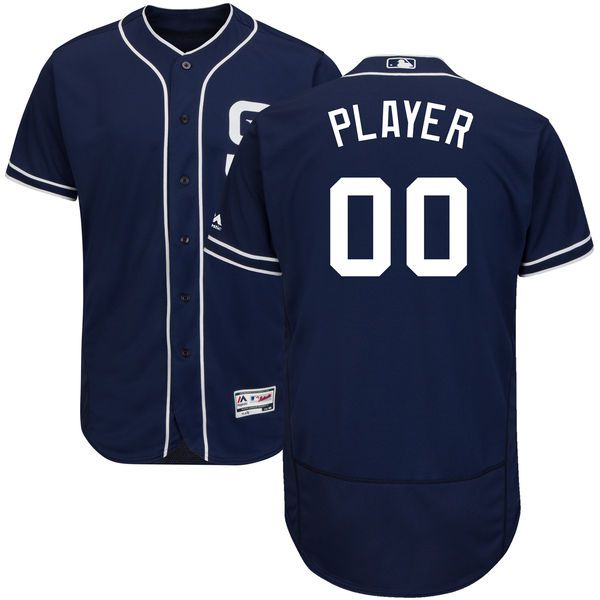 Men San Diego Padres Majestic Navy Blue Alternate Flex Base Authentic Collection Custom MLB Jersey