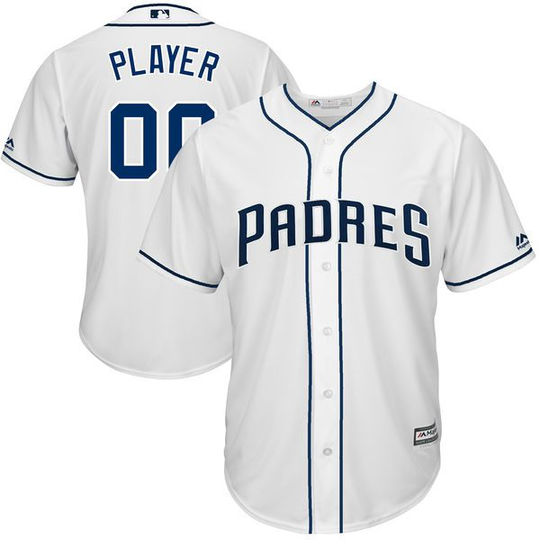 Men San Diego Padres Majestic White 2017 Cool Base Custom Baseball MLB Jersey