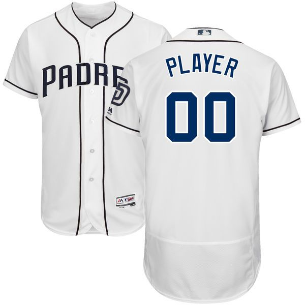 Men San Diego Padres Majestic White Home Flex Base Authentic Collection Custom MLB Jersey